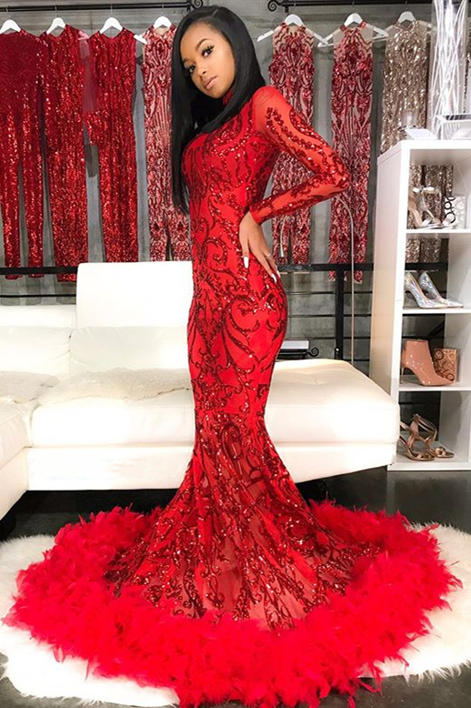 Sparkle Appliques Long Sleeve Mermaid Red Prom Dresses Cheap with Feather BC4126