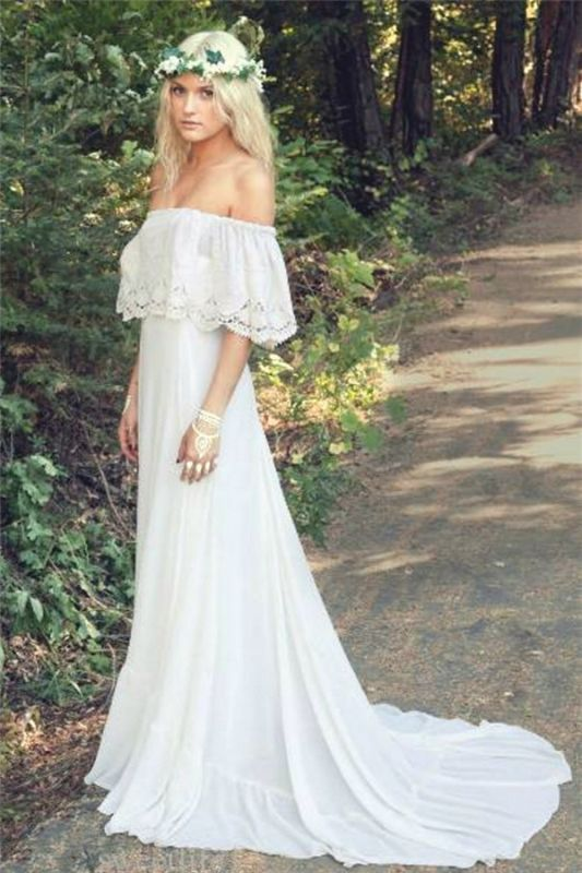 Off The Shoulder 2020 Bohemian Wedding Dresses Lace Summer Beach Wedding Gown BO6883