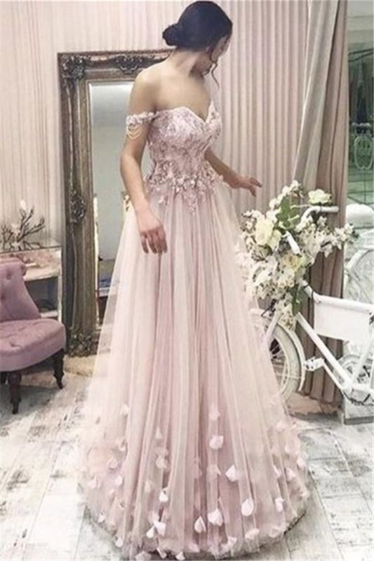 Pink Off the Shoulder Long Evening Dresses Online | 2020 Cheap Tulle Flowers Prom Dresses with Beading