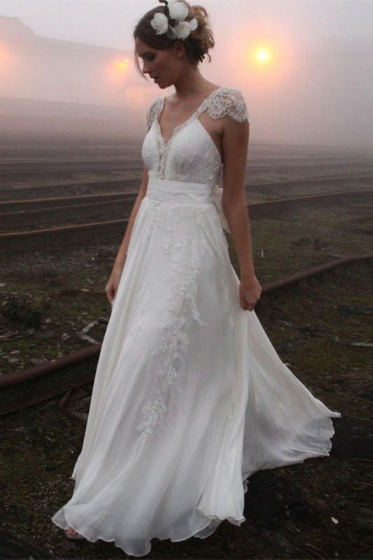 2020 V-neck Summer Outdoor Wedding Dress Lace Cap Sleeve Open Back Bridal Gowns