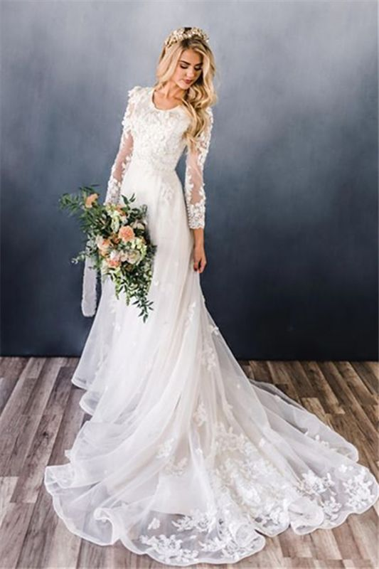 Elegant Appliques A-line Wedding Dresses | Lace Long Sleeve Bridal Gowns Online