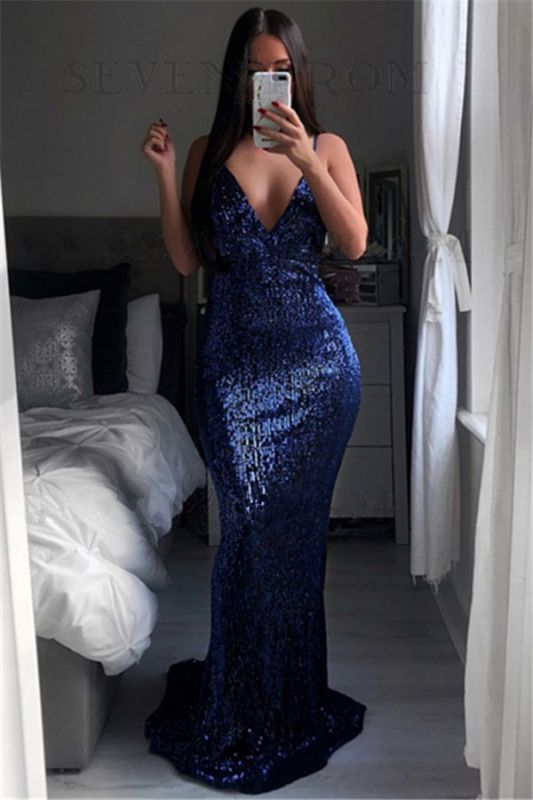 Sexy Sequined V-Neck Evening Dresses 2020 | Mermaid Backless Simple Party Dress