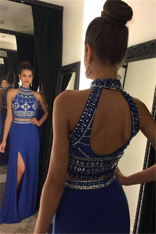 High Collar Beading Two Piece Prom Dress Blue Open Back Split Formal Occasion Dresses