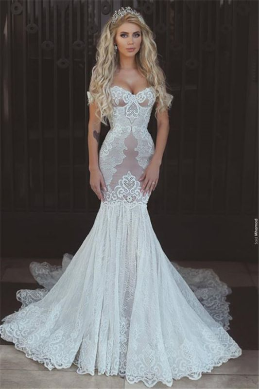 Sexy Mermaid Lace Off-the-Shoulder Wedding Dresses 2020 Open Back Bridal Gowns BA7275