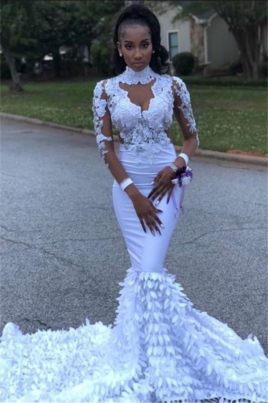 Lace High Neck Mermaid Prom Dress | Sexy Long Sleeve 2020 Evening Dresses