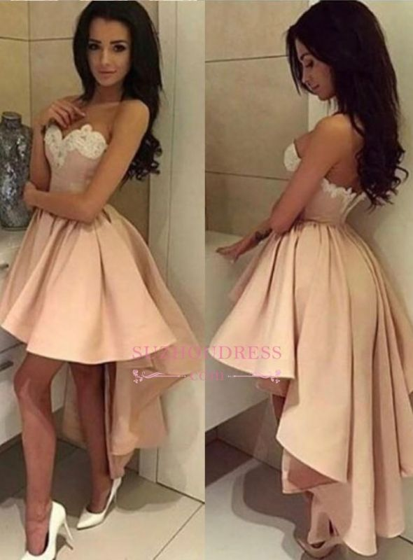 High Front Low Back Party Dress Sweetheart Modern High-low Lace 2020 Homecoming Dress BA6125