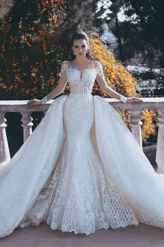 Long Sleeve Lace Appliques Mermaid Wedding Dress 2020 Overskirt Long Train Bride Dress WE0199