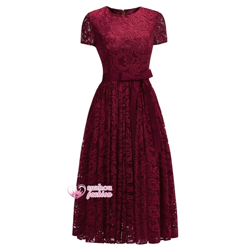 Lace Red Short-sleeves  Bow Sheath Ribbon Sexy Prom Dresses