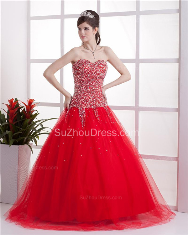 Red Sweetheart Quinceanera Dresses 2020 Sequins Beading  Floor Length Lace-up Tulle Sleeveless Prom Dresses