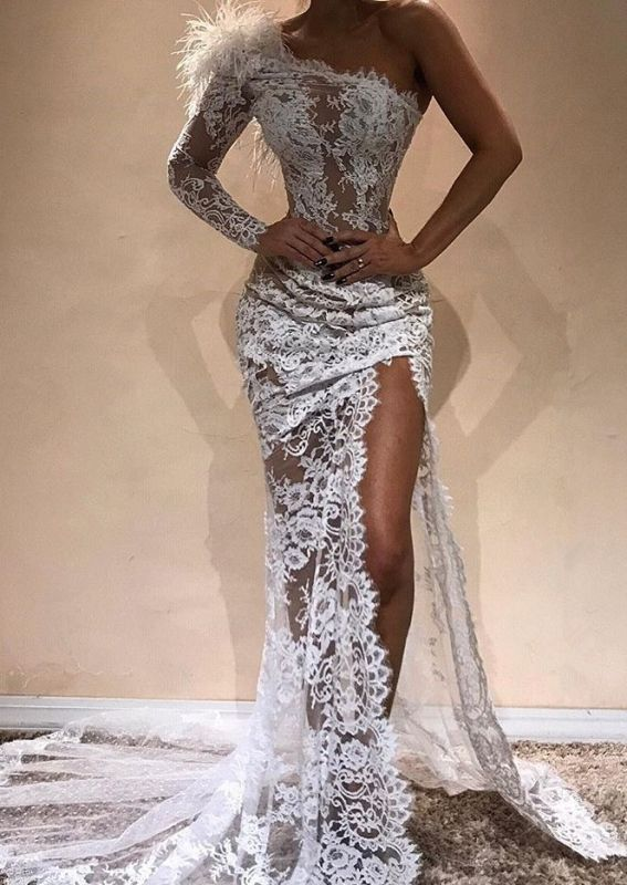 Gorgeous One Shoulder White Lace Prom Dress Mermaid Long Evening Gowns With Slit