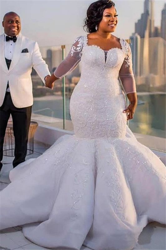 Plus Size Mermaid Lace Wedding Dresses | 2020 Sexy Wedding Dress with Sleeves