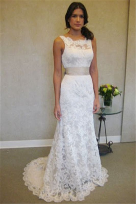 Formal White Lace Sweep Train Bridal Gown Simple Popular Custom Made Plus Size Wedding Dress BA3872