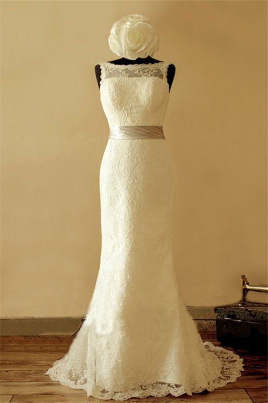 Bateau Full Lace 2020 Elegant Wedding Dress Sleeveless Sheath Bridal Gowns with Ribbon Sash