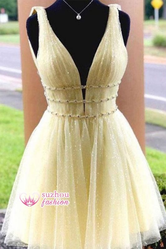 Strap Beaded Glitter A-line V-neck Short Homecoming Dresses