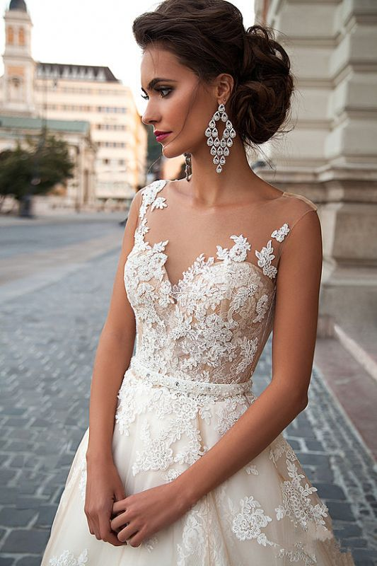 2020 A-line Light Champagne Wedding Dresses Lace Sheer Tulle Stunning Bridal Gowns BA3192