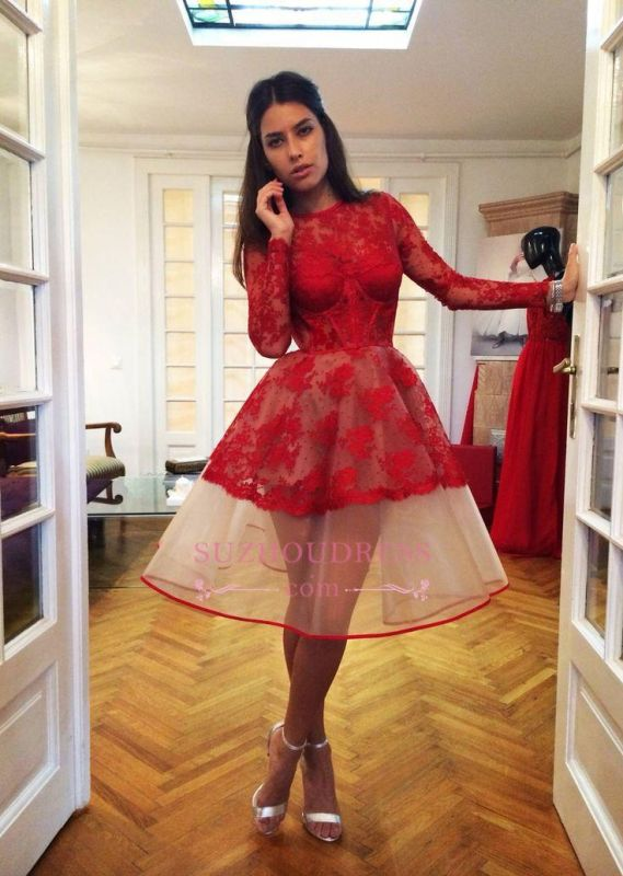 Red Long Sleeve Popular 2020 Appliques Charming Lace Sheer Homecoming Dresses BA7239