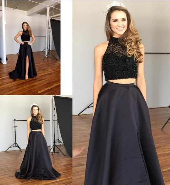 New Arrival Black Two Pieces Prom Dress with Beadings Elegant Sweep Train Evening Gown JT102