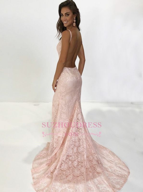 New Arrival Mermaid Spaghetti-Straps Sleeveless Prom Dresses   Lace Appliques Backless Sweep Train Prom Gown