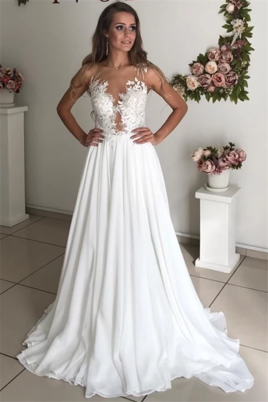 Strapless Sheer Tulle Chiffon Wedding Dresses | Appliques A-line Cheap Bridal Dresses