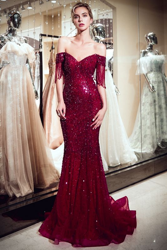 Sparkly Red Crystal Off Shoulder Evening Dresses   2020 Mermaid Evening Gowns with Tassels