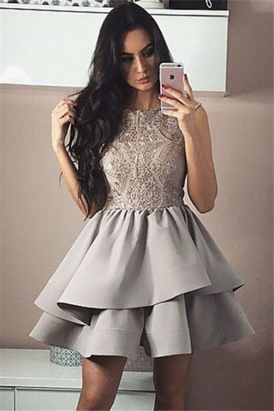 Silver A-Line Sleeveless Homecoming Dresses | Short Appliques Hoco Dresses 2020