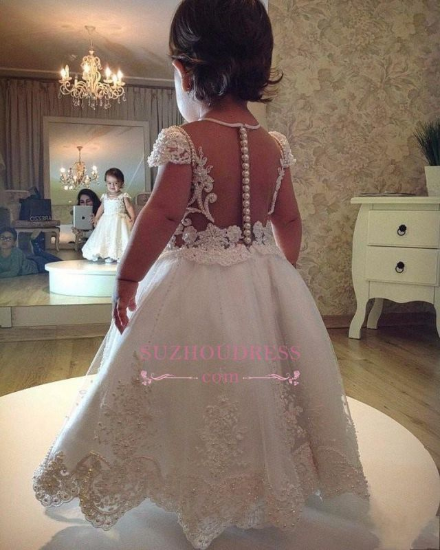 Pearls Lace Short Sleeves A-line Flower Girl Dress 2020