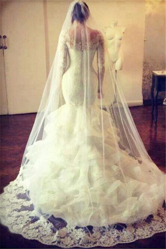 Gorgeous Wedding Dresses 2020 Lace Mermaid Long Sleeve Bridal Gowns with Wedding Veil