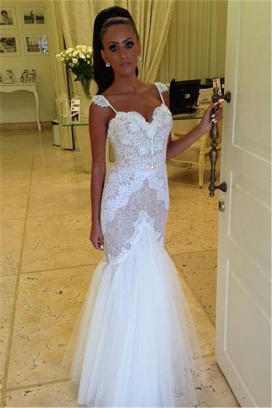 Straps Sweetheart Wedding Dress Cheap Mermaid Lace Tulle Backless Wedding Gowns 2020