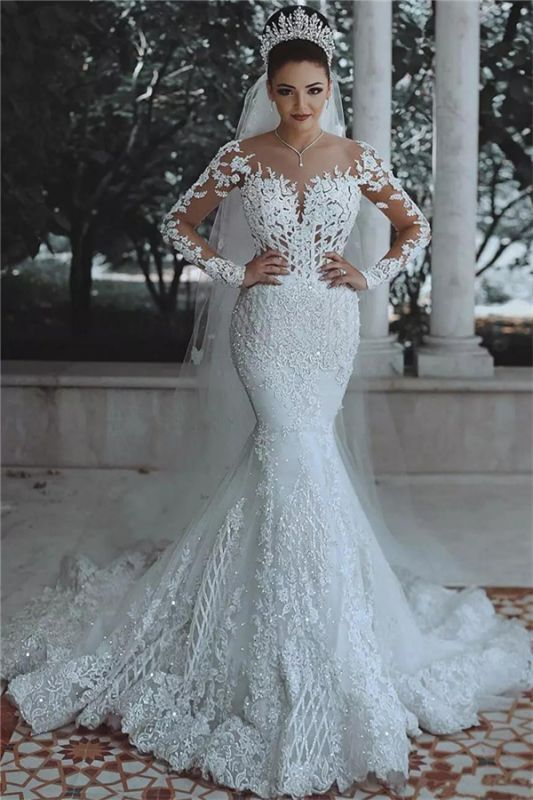 2020 Luxury Beaded Lace Mermaid Wedding Dresses with Sleeves | Sheer Tulle Appliques Cheap Bride Dresses