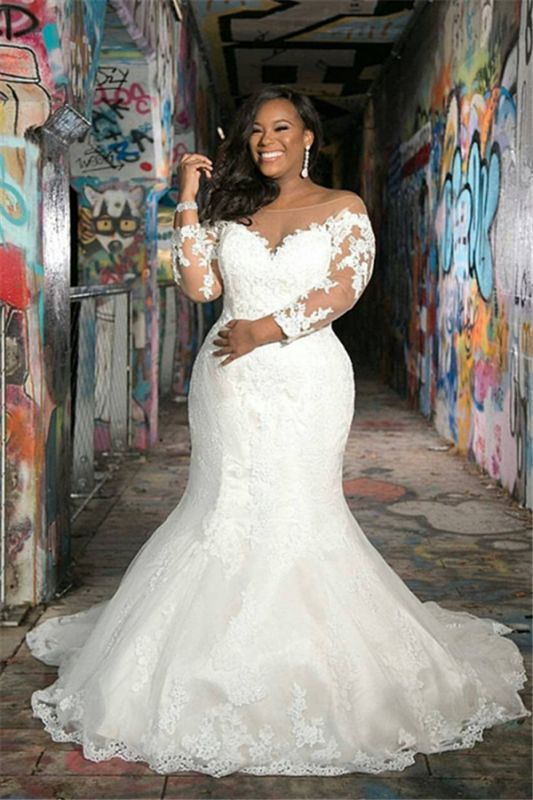 Off The Shoulder Cheap Appliques Wedding Dresses | Sheer Tulle Plus Size Memaid Bridal Gowns