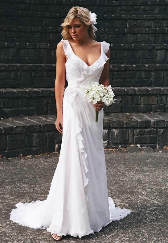 2020 Elegant V-neck Chiffon Wedding Dress Summer Beach Ruffles Sleeveless Bridal Dresses