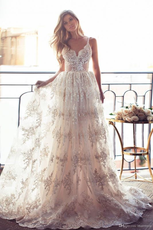 2020 Full Lace Open Back Wedding Dresses Sexy Spaghetti Straps Summer Wedding Gowns