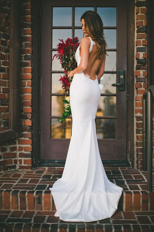2020 Sexy Mermaid Wedding Dress Outdoors Backless Sleeveless Summer Bridal Gowns Cheap