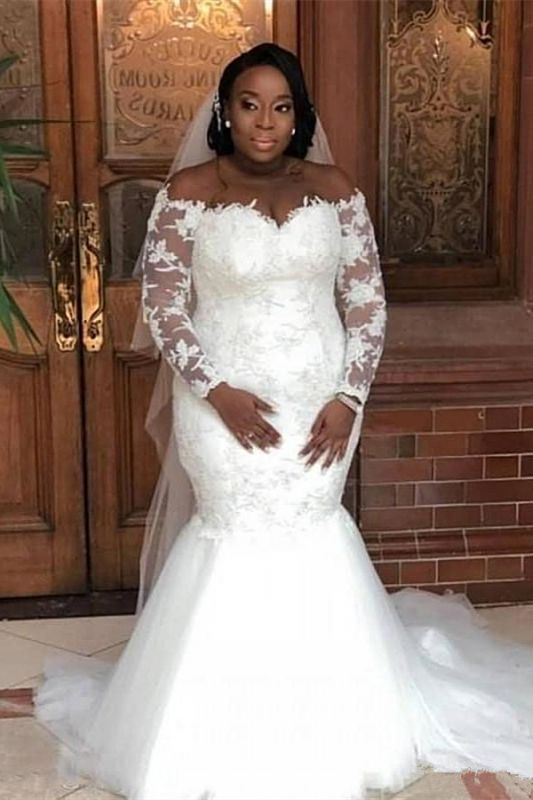 Plus Size Mermaid Appliques Wedding Dresses | Off The Shoulder Long Sleeve Bridal Gowns