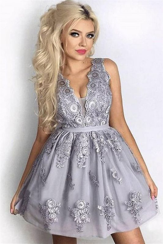 Silver A-Line Sleeveless Short Homecoming Dresses | 2020 Lace Homecoming Dress Cheap