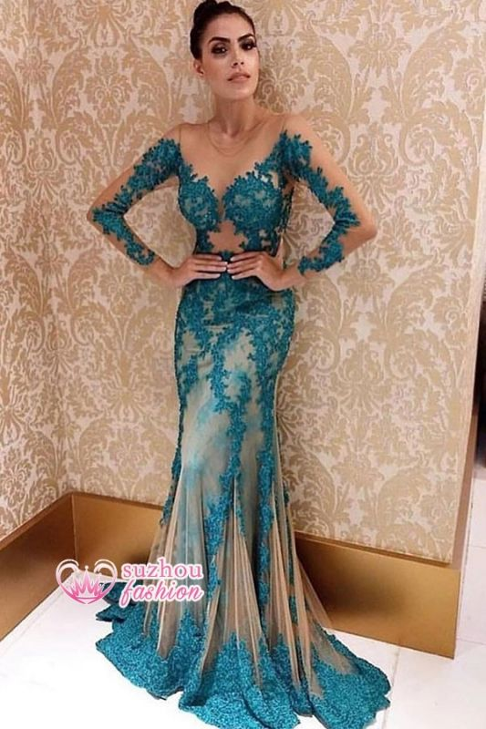 Elegant Long Sleeve Lace Appliques Mermaid Nude Formal Evening Gowns Cheap