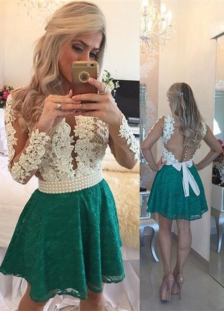 White Appliques Top Green Lace Skirt 2020 Homecoming Dresses Long Sleeve Beaded Evening Gown BA3568