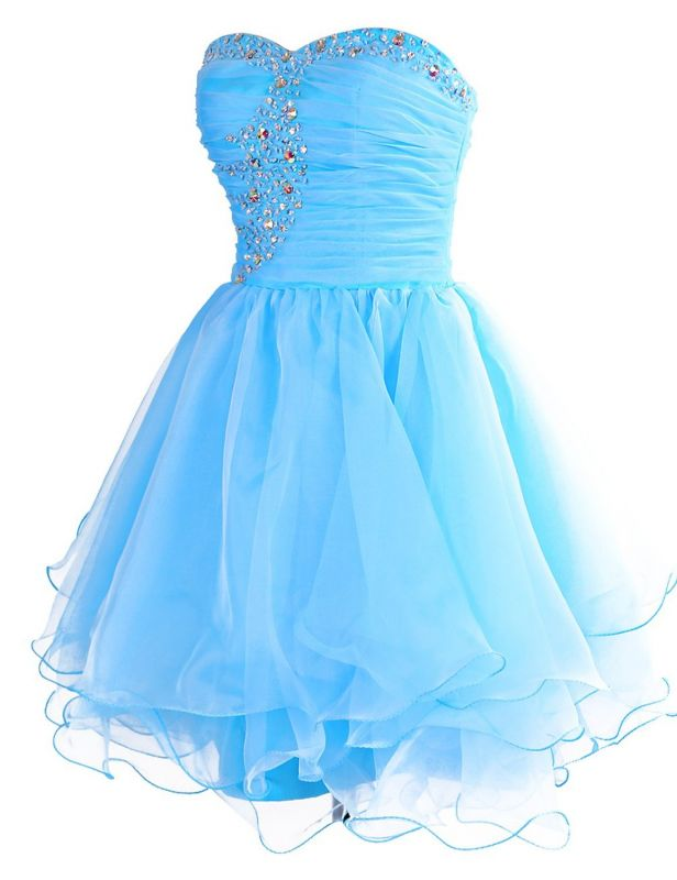 Blue Ruffles Sweetheart Short Homeocming Dresses with Beadings Cute Organza Lace-Up Cocktail Dress