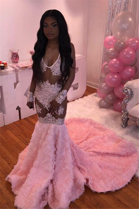 Pink Flowers V-neck Sexy Prom Dresses   Sheer Tulle Appliques Mermaid Evening Gowns