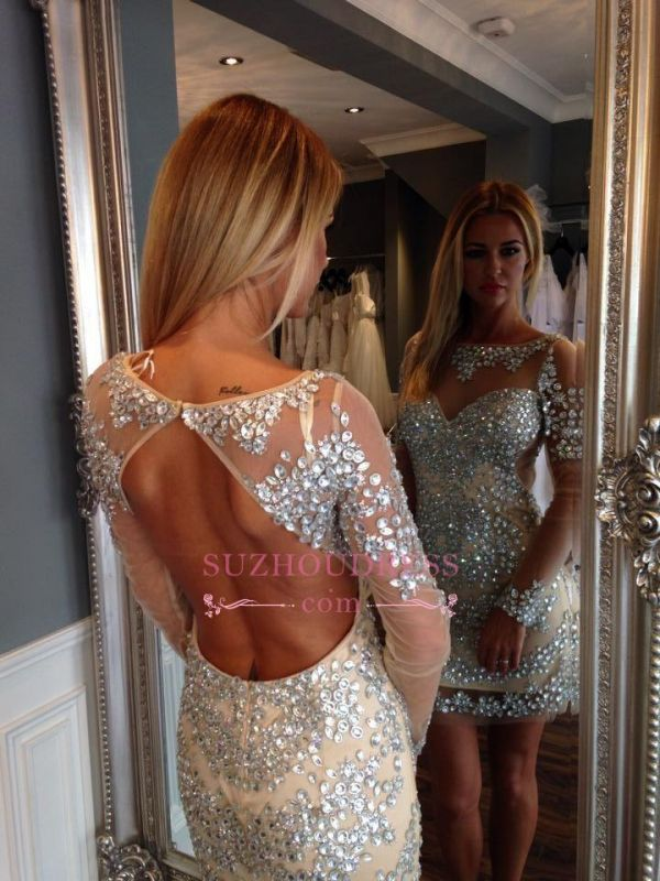 Crystal Open Back Short Party Dresses Gorgeous Long Sleeve Homecoming Dress Cheap