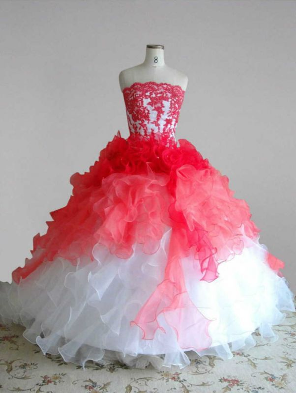 Red and White Quincenera Dresses Lace Sweet 16 Stage Decoration for Pageant Dress