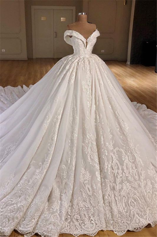 Gorgeous Off Shoulder Ball Gown Wedding Dresses 2020 | Puffy Lace Wedding Dress Online