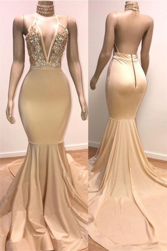 Cheap Backless Champagne Prom Dresses | Crystals Appliques Mermaid Sexy Formal Evening Gowns