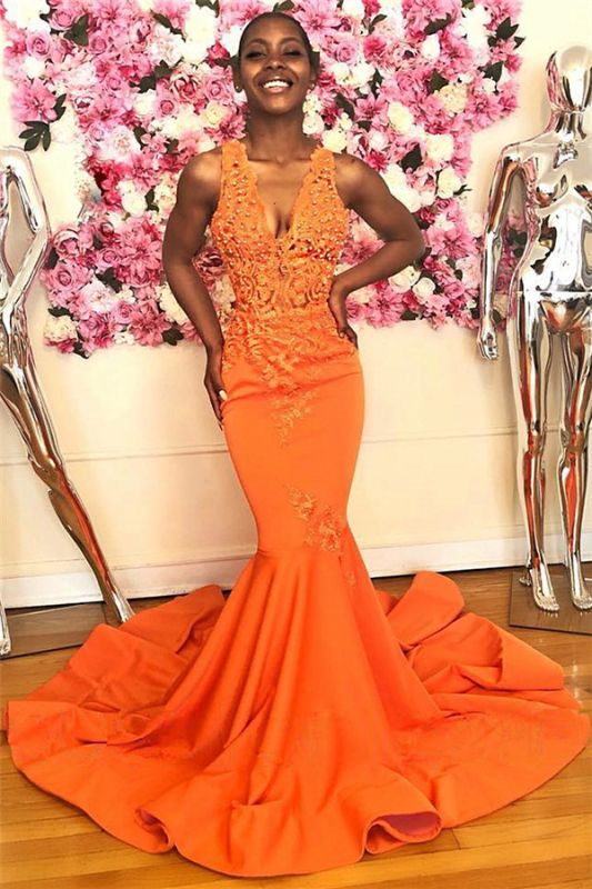 Mermaid Beads Appliques Orange Prom Dresses   Sleeveless V-neck Sexy Evening Gowns with Court Train