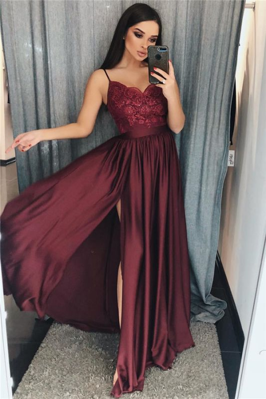 Spaghetti Straps Burgundy Prom Dresses Cheap 2020 | Sexy Side Slit Lace Appliques Evening Gown BC0867