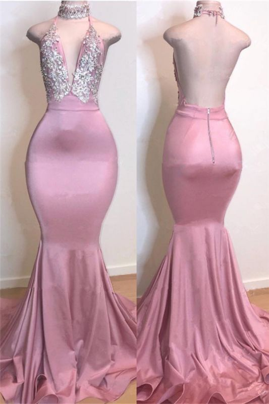Cheap Open Back Pink Long Prom Dresses | Silver Crystals Appliques Mermaid Sexy Evening Gowns