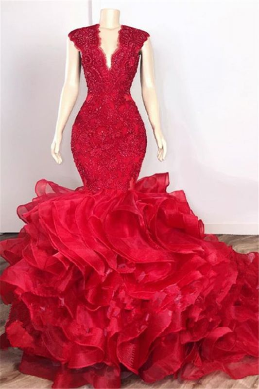 Glamorous Beads Appliques Red Prom Dresses | Ruffles Mermaid Sexy Evening Gowns