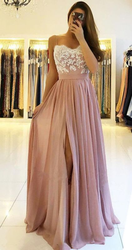 2020 Spaghetti Straps Pink Prom Dresses Cheap | Open Back Lace Chiffon Slit Formal Evening Gown BA9633