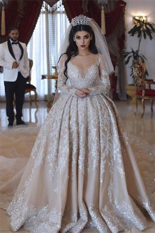 Sparkling Beads Crystal V-neck Ball Gown Wedding Dresses | Backless Sheer Tulle Long Sleeve Bridal Gowns