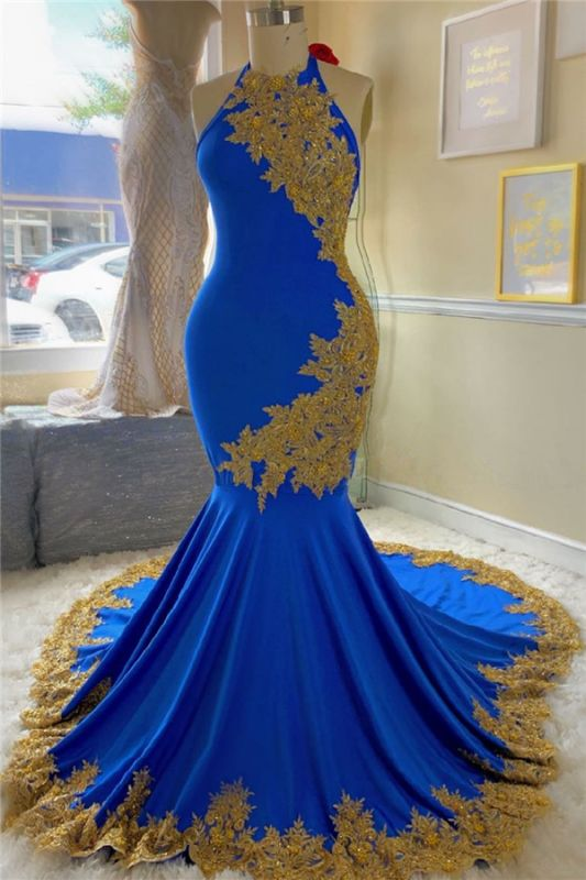 Gold Lace Royal Blue Prom Dresses with Beads | Open Back Plus Size Formal Dresses Cheap 2020